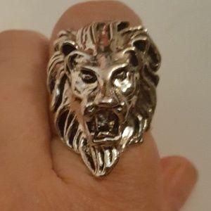RoaringLion Ring TibetanSilver&StainlessSteelSz9